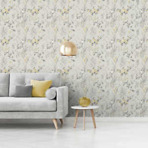 Mariko Grey and Yellow Floral Birds Wallpaper Woodland Design by Crown M1551