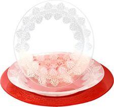 Pasabahce Macrame - vajilla de 18 piezas cristal color blanco y rojo