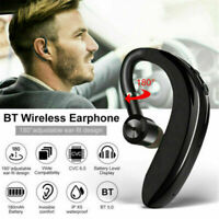 Wireless Bluetooth 5.0 Earpiece Driving Trucker Headset Earbuds Noise Cancelling