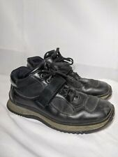 Prada Men's Sneaker Strap Shoes Black Leather 7.5 / US 9 Made in Italy
