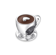 SOLID Sterling Silver I Love Coffee Cappuccino Charm by Pandora's Wish
