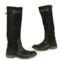 Ugg Black Suede Leather Castille Riding Boots Top Buckle Sz - US 6