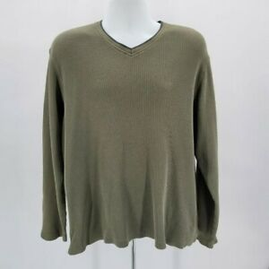 Vintage Structure Green Thermal Long Sleeve Shirt Mens XL