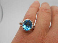 Gorgeous 14k Solid Yellow Gold Vibrant Natural Blue Topaz Diamond Cocktail Ring