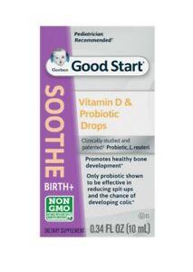 Gerber Soothe Vitamin D & Probiotic Drops - Sealed .34 Fl Oz Exp 7/2022