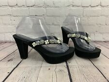 Betsey Johnson Black Studded High Heels Sandals Size 8 R4306 Kelly Slip On Shoes