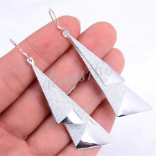 Long Double Triangle Earrings H384 925 Sterling Silver Hypo-allergenic 75mm Very