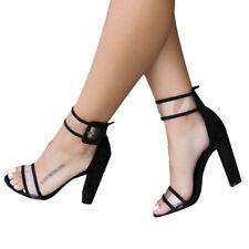 Women's Ladies Block High Heels Buckle Ankle Strap Open Toe Sandals Shoes Size