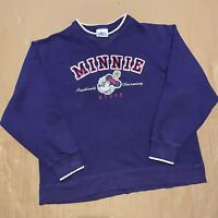 Women's Vintage Disney Minnie Mouse Pullover Sweatshirt with Embroidery Size M