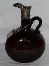 Brown glass & silver plate vintage pre Victorian antique decanter