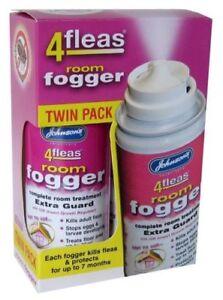 TWIN PACK - Johnsons 4fleas Room Flea Fogger Killer Bomb Spray - House Treatment