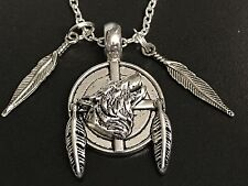 "Tribal Wolf & Feathers Coin Charm Tibetan Silver 18"" Necklace BIN"
