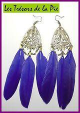Boucles d'oreilles - FILIGRANE & 3 PLUMES - 14cm - Violet