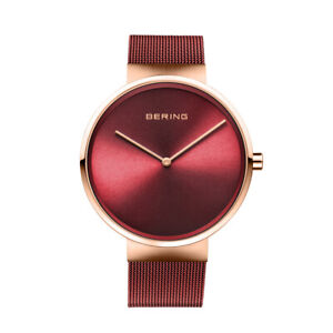 Bering Time Classic Polished Rose Gold Steel & Red Dial Men's Watch. 14539-363