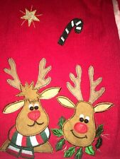 UGLY TACKY CHRISTMAS SWEATER CARDIGAN RED JINGLE BELL REINDEER GOLD STARS M L