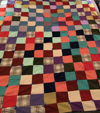 """VTG 1960s/70's 71""""x54"""" Polyester Patchwork Quilt or Crazy Quilt w/ 4""""x4"""" Squares"""
