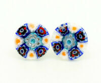 Murano Glass Thin Earrings Pink Blue White Red Millefiori Handmade Venetian