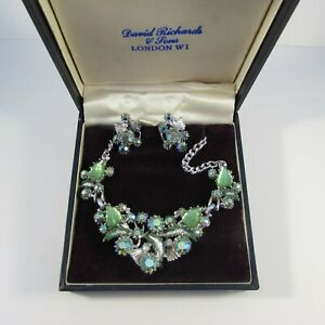 Vintage Mid-Century Boxed Silvertone and Green Rhinestone Necklace & Earrings