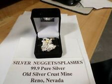 PURE NEVADA CRYSTALLINE SILVER Nugget/Splash with/Gold Nugget. 14.8 Grams,