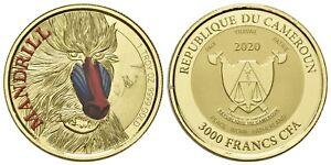 3000 Francs Mandrill - mit Farbapplikation - 1 Oz GOLD-Münze - Kamerun 2020 - PP
