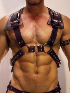 Men PU Leather Harness Chest Bondage Garter Belts Punk Goth Adjustable Suspender