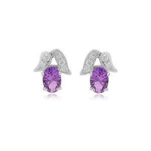 Genuine 0.88 TCW Amethyst Gemstone Stud Earrings Solid 14k White Gold Jewelry