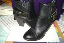 """Forever 21 Black Ankle Boots booties  Chunky Heel  3""""  Sz 8"""