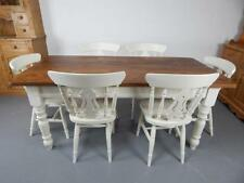 Brand New Painted 6ft Farmhouse Dining Table with 6 Fiddle back Chairs in White