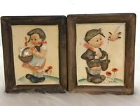 Napco Ceramic Wall Plaques Numbered Set of 2 Boy w Bird & Girl w Kittens Vintage