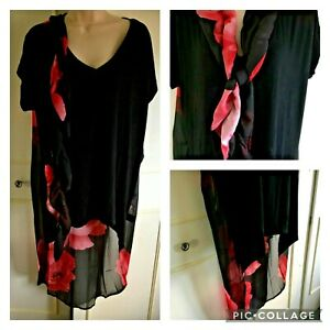 FRANK USHER - black top tshirt with chiffon floral back & tail - Size 20