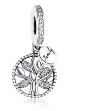 Family Tree Heritage Pendant Charm Pink Stone Genuine 925 Sterling Silver