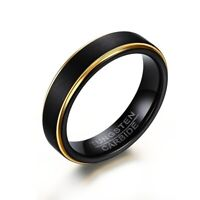 5mm Men's Black Matte Band Tungsten Steel Gold Plating Engagement Ring Size 6-12