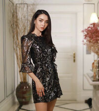 BNWT H&M x Vampires Wife Black Silver Lace Mini Dress UK 14 EU 42 US 10 SOLD OUT