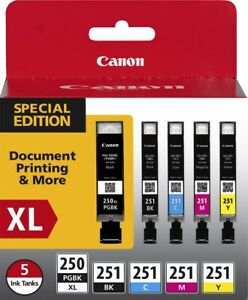 Canon - 250 XL/CLI-251 5-Pack Special Edition Ink Cartridges - Black/Cyan/Magent