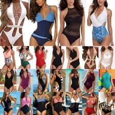 Womens One Piece Monokini Bikini Push-up Beachwear Swimwear Swimsuit Costumes