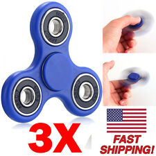 3 PACK Aluminum Hand Spinner Tri Fidget Spinner 3D EDC Focus Toy Kids/Adult BLUE