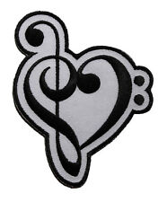 Treble Clef Heart Embroidered Iron On Patch - Love Music Musical Note 127-O