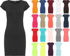 New Womens Plain Bodycon Short Sleeve Long Top Ladies Stretch Mini Dress 8 - 14