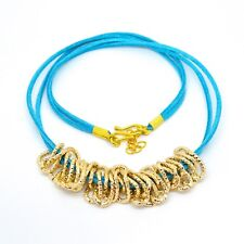 """Turquoise Double Strand Leather and Gold Toned Fancy Cable Chain Necklace. 20"""""""