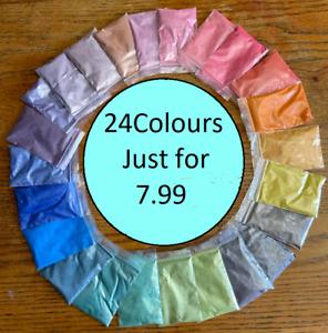 Mica Powder Cosmetic Colour Dye Pigment Bath Bombs Soap Wax Candle Art 24 Colour