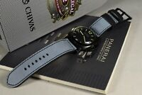 MA WATCH STRAP 26 24 22 NUBUCK LEATHER FOREST GREY BLACK HANDMADE FOR PANERAI