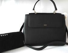 New Genuine DKNY Leather Large Flap Tote Handbag Cross Body Black Smart