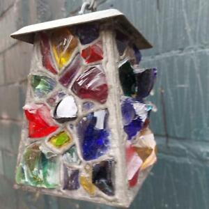 Antique Peter Marsh Lantern Ceiling Multi colored Glass Arts and Crafts Lantern