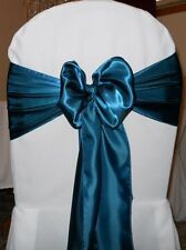 "100 Dark Teal Sain Chair Sashes Bows 6"" x 108"" Wedding Decorations Made in USA"