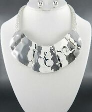 Shiny Silver Tone Hammered Look Cleopatra Style Necklace Earring Set