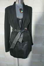 Cache Blazer Black Faux Leather Tie Waist Sz 2