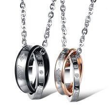 2 Edelstahl LOVE Anhänger Halsketten Partner Ketten Freundschaft Paar Liebe 866