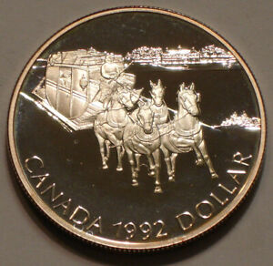 1992 STAGECOACH SERVICE Silver Dollar of Canada Gem Proof .925 Fine SILVER