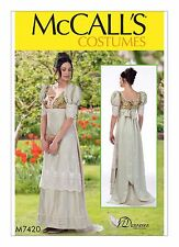 M7420 Sewing Pattern Costume Women Regency Ball Jane Austen Dress Coat Sz 14-22