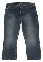 Aeropostale Womens Jeans Junior Size 7 8 Crop Capri Mid Rise Stretch Blue Denim